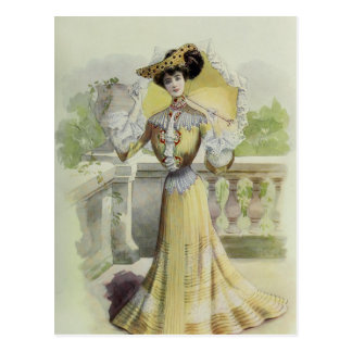 Victorian Lady–Vintage French Fashion-Yellow Dress Postcard