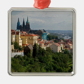 View of Saint Vitus's Cathedral, Prague, Czech Silver-Colored Square Decoration
