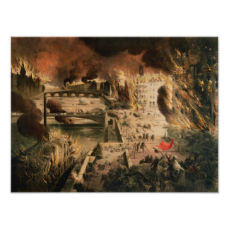 View of the Fires in Paris during the Commune Poster