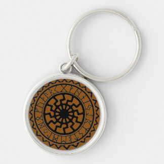 Viking Celtic Sun with Rune Calendar Keyring Silver-Colored Round Key Ring