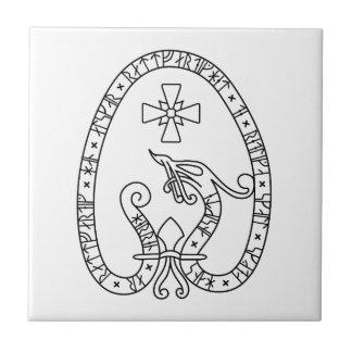 Viking Rune Stone black wild duck white Small Square Tile