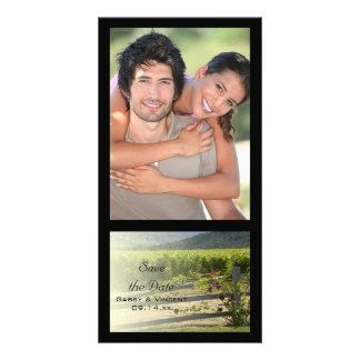 Vineyard and Rose Fence Wedding Save the Date Photo Card Template