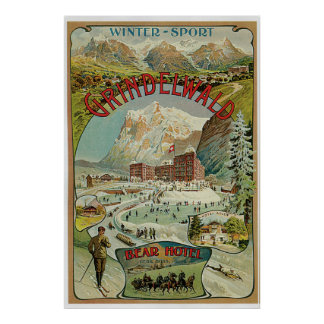 Vintage 1890s Swiss Alps winter sports hotels ad Poster