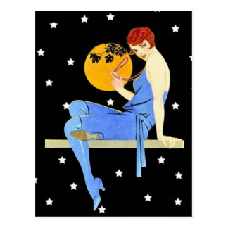 Vintage 1920's Flapper Lady Moon Stars Red Hair Postcard
