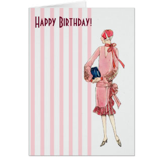 Vintage 1920s Woman in Pink Dress Happy Birthday Greeting Card