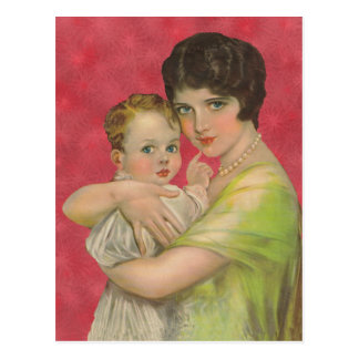 Vintage 1930's Mother Holding Baby Mother's Day Postcard