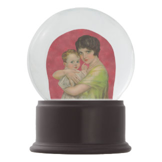 Vintage 1930's Mother Holding Baby Mother's Day Snow Globes