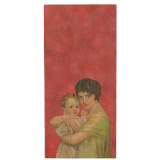 Vintage 1930's Mother Holding Baby Mother's Day Wood USB 2.0 Flash Drive