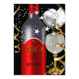Vintage 70th Birthday Red Wine Black Gold Silver 11 Cm X 16 Cm Invitation Card