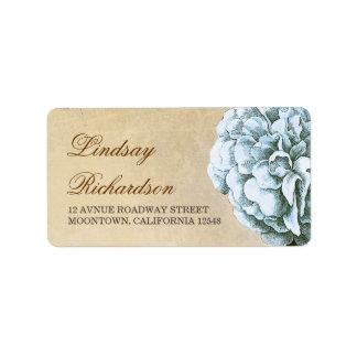 vintage address label  with blue peony blossom