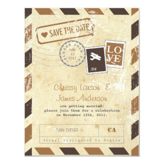 Vintage Airmail Card Save the Date 11 Cm X 14 Cm Invitation Card