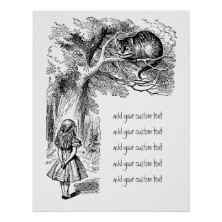 Vintage Alice in Wonderland, Cheshire Cat Poster