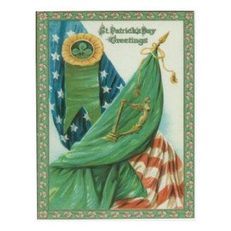 Vintage American Flag Harp of Erin St Patrick's Postcard