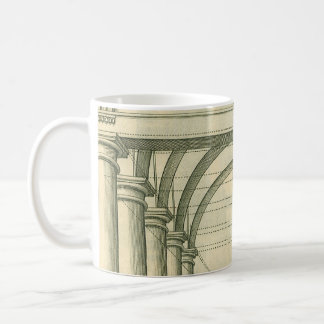Vintage Architecture, Arches Columns Perspective Basic White Mug