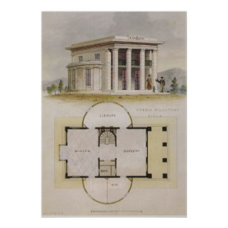 Vintage Architecture, Floor Plan and Greek Villa Poster