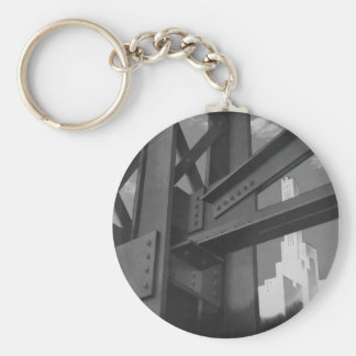 Vintage Architecture Steel Construction Skyscraper Basic Round Button Key Ring
