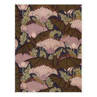 Vintage Art Deco Bat and Flowers Postcard