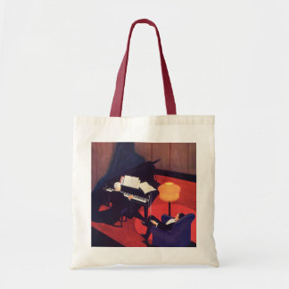 Vintage Art Deco Music Pianist Piano Player Lounge Budget Tote Bag