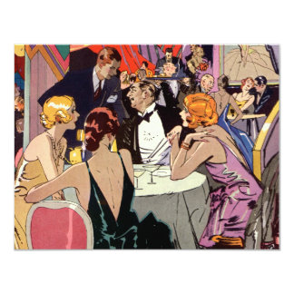 Vintage Art Deco Nightclub Cocktail Party 11 Cm X 14 Cm Invitation Card