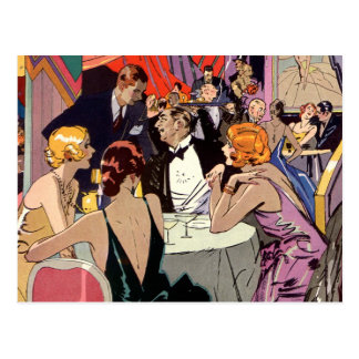 Vintage Art Deco Nightclub Cocktail Party Postcard