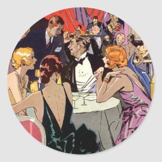 Vintage Art Deco Nightclub Cocktail Party Round Sticker