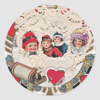 Vintage Art of Cherub and Kids Round Sticker