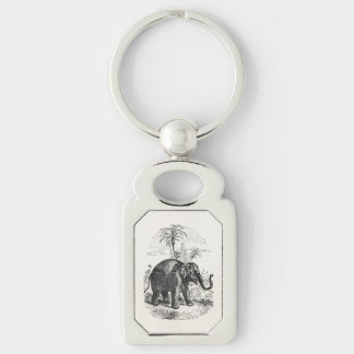 Vintage Asian Elephant Personalized Elephants Silver-Colored Rectangle Key Ring