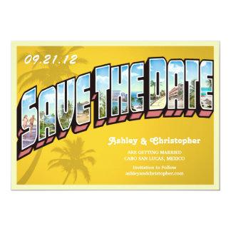 Vintage Beach Destination Save The Date Postcard 13 Cm X 18 Cm Invitation Card