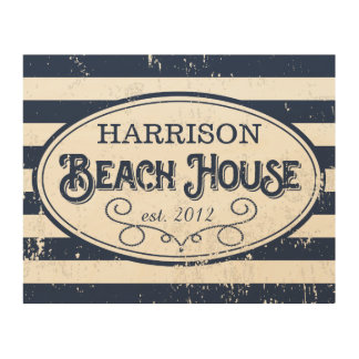 Vintage Beach House Personalized Navy Blue Stripe Wood Canvases