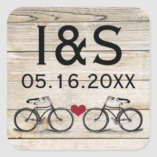 Vintage Bicycle Wedding Favor Stickers