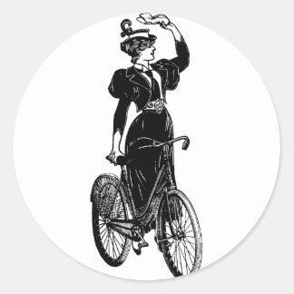 Vintage Bicyclist Round Sticker