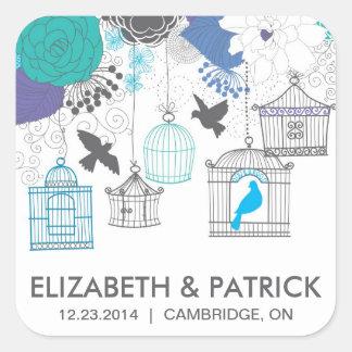 Vintage Birdcages and Flowers Wedding Sticker