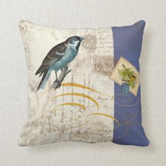 Vintage Birds Postage Stamp Songbird Swirl Collage Throw Cushion