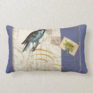 Vintage Birds Postage Stamp Songbird Swirl Collage Throw Cushions
