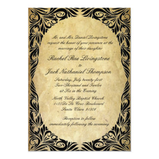 Vintage Black and Cream Wedding 13 Cm X 18 Cm Invitation Card