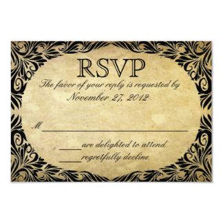 Vintage Black and Cream Wedding RSVP 9 Cm X 13 Cm Invitation Card