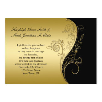 Vintage Black and Gold Floral Swirls Wedding 13 Cm X 18 Cm Invitation Card
