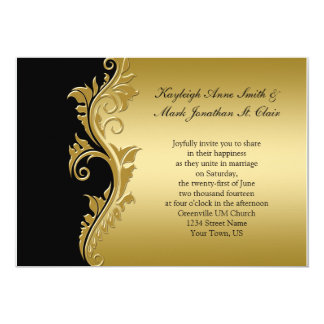 Vintage Black and Gold Wedding Invitation