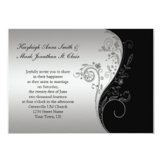 Vintage Black and Silver Wedding Invitation