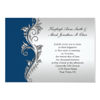Vintage Blue and Silver Wedding Invitation