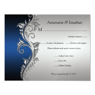 Vintage Blue Black and Silver Floral RSVP 11 Cm X 14 Cm Invitation Card
