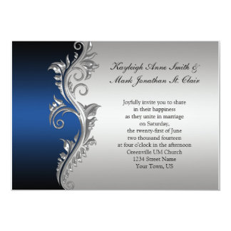 Vintage Blue Black and Silver Wedding Invitation