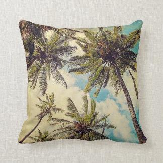 Vintage Blue Hawaii Palms - Kauai Throw Pillow Throw Cushions