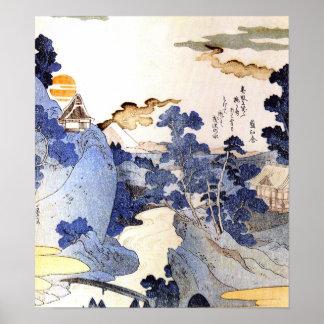 Vintage blue Japanese Art Woodblock Ukiyo-E Poster