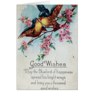 Vintage Bluebird Good Wishes Greeting Card
