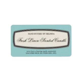 Vintage Border Handmade Candle Label, Pale Blue Address Label