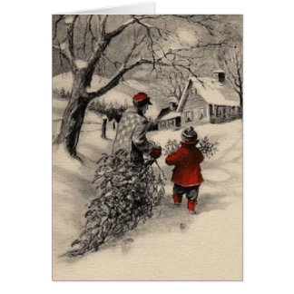 Vintage Bringing Home the Christmas Tree Card