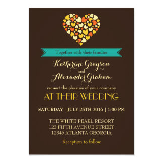 Vintage Brown Love and Heart Wedding Invitation