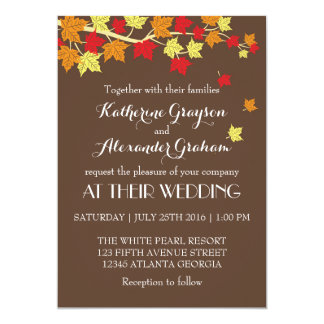 Vintage Brown Maple Leaves Fall Wedding Invitation