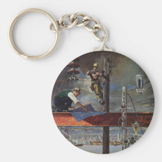 Vintage Business, Building and Construction Basic Round Button Key Ring